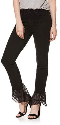 Paige Hoxton High Waist Handkerchief Hem Straight Leg Jeans