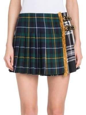 Versace Plaid Pleated Mini Skirt