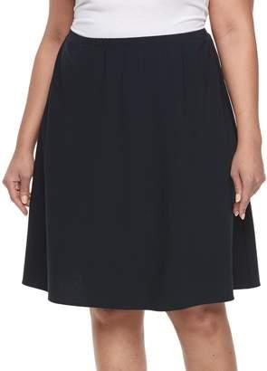 Briggs Plus Size Comfort Waistband A-Line Skirt