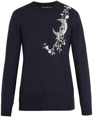 Alexander McQueen Moon-embroidered cashmere-blend sweater