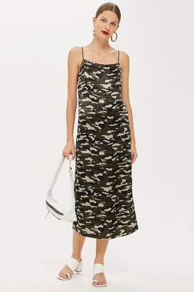 Topshop Camouflage Midi Slip Dress
