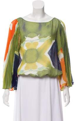 Alice + Olivia Patterned Bell Sleeve Blouse