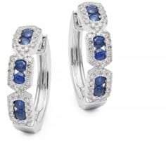 KC Designs 14K White Gold, Diamond & Blue Sapphire Hoop Earrings