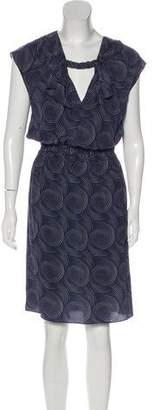 Derek Lam Silk Geometric Print Midi Dress