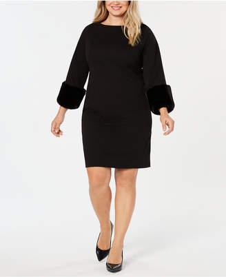 Alfani Plus Size Faux-Fur Cuff Shift Dress