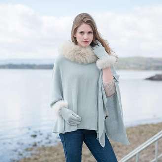 Holmes Samantha Alpaca Fur Trim Cape