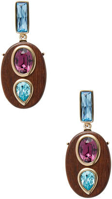 Oscar de la Renta Wooden Crystal Earrings
