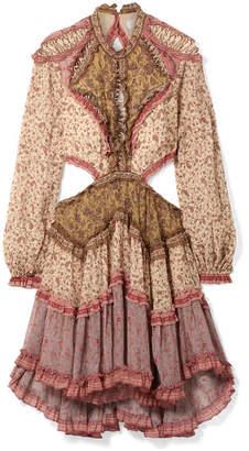 Zimmermann Juniper Open-back Cotton And Silk-blend Crepon Dress