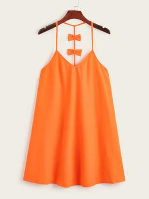 Shein Neon Orange Bow Racerback Slip Dress