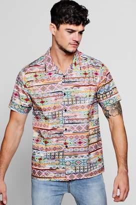 boohoo Aztec Print Short Sleeve Revere Shirt