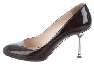 Prada Patent Leather Round-Toe Pumps