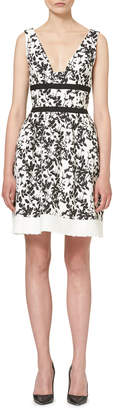 Carolina Herrera Sleeveless Floral-Print Tweed-Hem Dress