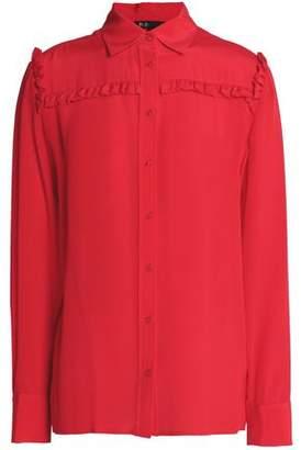 Maje Ruffle-Trimmed Silk Crepe De Chine Shirt