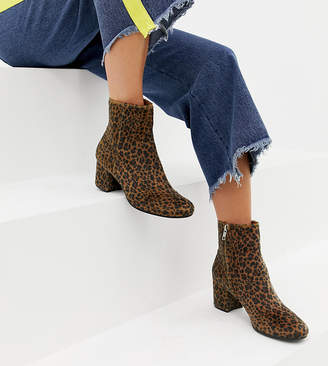 Monki pony hair leopard print heeled boots in brown