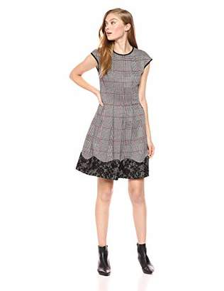 Gabby Skye Women's Cap Sleeve Round Neck Knit Fit and Flare Dress