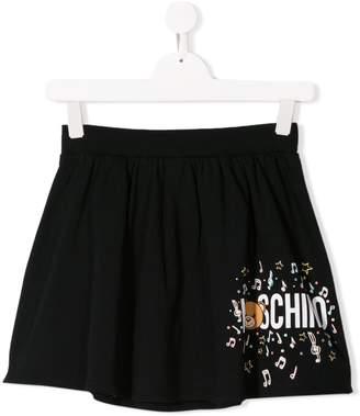 Moschino Kids TEEN bear music logo print skirt
