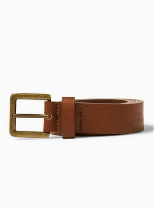 Topman Mens Brown Skinny Faux Leather Belt with Brushed Gold Buckle in Tan
