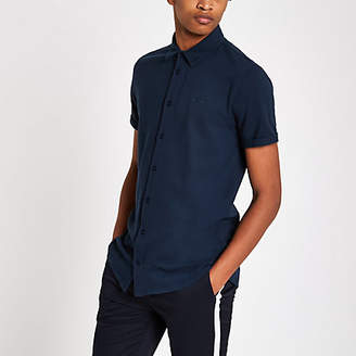River Island Mens Navy muscle fit embroidered button-down shirt