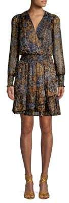 MICHAEL Michael Kors Ruffle-Trimmed Mixed-Print Blouson Dress