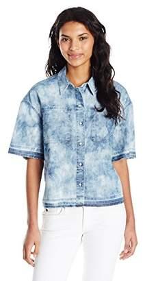 True Religion Women's Boxy Step Hem Chambray Shirt