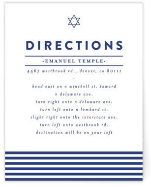 Classic Stripes Mitzvah Direction Cards