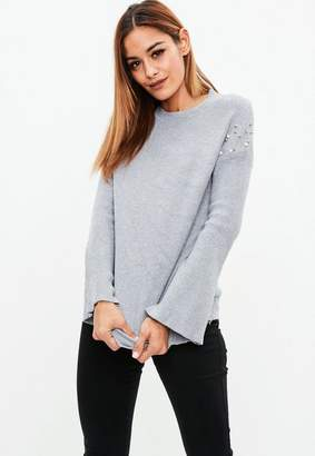 Missguided Gray Pearl Embellished Sleeve Sweater