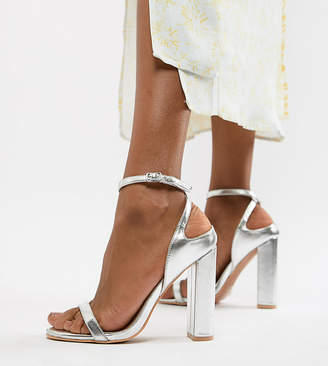 e37b2ed9db6 Lost Ink Wide Fit Silver Block Heel Ankle Strap Sandals