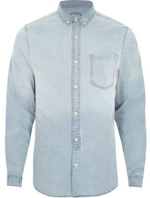 River Island Mens Light blue wash long sleeve denim shirt
