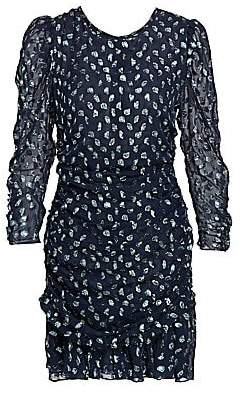 Tanya Taylor Women's Raven Metallic Polka Dot Stretch-Silk Sheath Dress