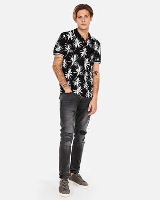 Express Shadow Tipped Palm Print Stretch Pique Polo