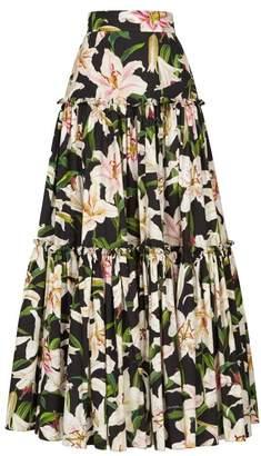 Dolce & Gabbana Lilium Print Tiered Poplin Maxi Skirt - Womens - Black Print
