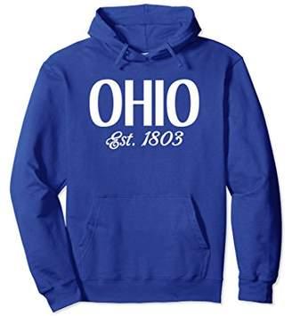 Ohio Est. 1803 state Hoodie Sweatshirt White Block Ohio