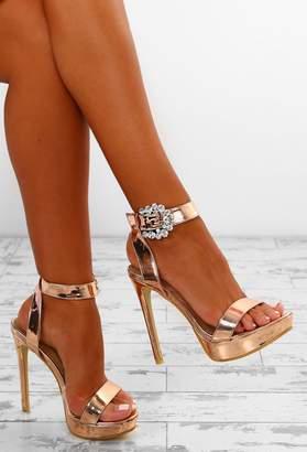 b1d4efd65394 Pink Boutique Cocktail Party Rose Gold Embellished Buckle Platform Heels