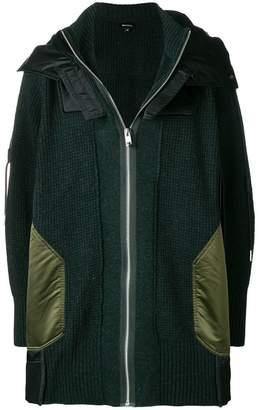 Diesel hooded knit coat