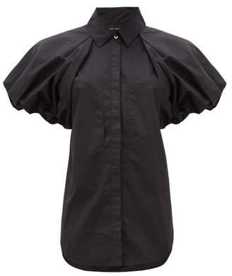 Lee Mathews - Elsie Puff Sleeve Cotton Poplin Shirt - Womens - Black