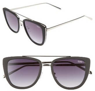 Women's Quay Australia French Kiss 55Mm Cat Eye Sunglasses - Black/ Smoke $60 thestylecure.com
