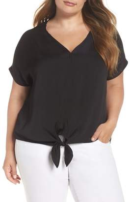 Lucky Brand Tie Front Satin Top