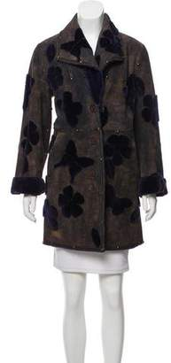 Neiman Marcus Fur-Accented Knee-Length Coat