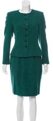 Akris Vintage Wool-Blend Skirt Suit Turquoise Vintage Wool-Blend Skirt Suit