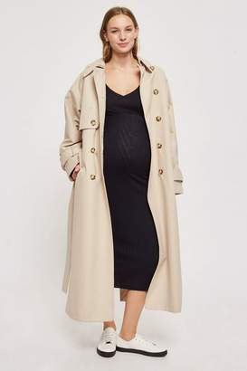 Topshop **Maternity Wide V-Neck Ribbed Bodycon Dress