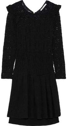 Maje Ruffled Lace Mini Dress