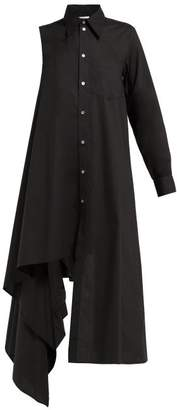 MM6 MAISON MARGIELA One Sleeve Cotton Shirtdress - Womens - Black