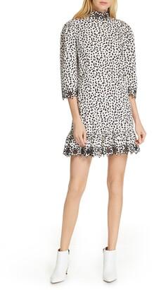 Rebecca Taylor Embellished Animal Print Dress