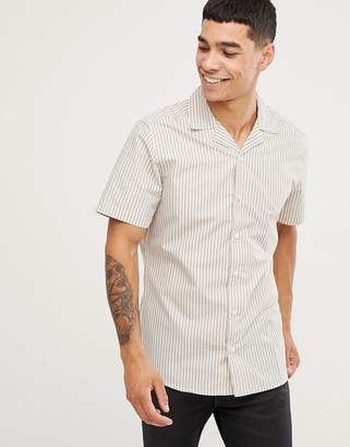 ONLY & SONS Short Sleeve Stripe Shirt With Revere Collar