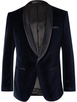 HUGO BOSS Midnight-Blue Hockley Slim-Fit Satin-Trimmed Cotton-Velvet Tuxedo Jacket