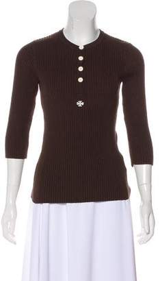 Tory Burch Long Sleeve Rib-Knit Sweater
