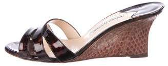 Manolo Blahnik Patent Leather Slide Wedges