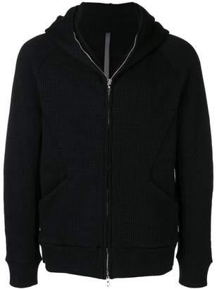 Attachment textured zip hoodie