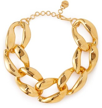 Misho - Chunky Chain Brass Necklace - Womens - Gold