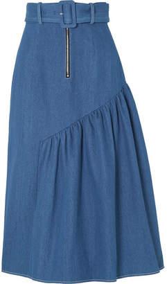 REJINA PYO - Bonnie Belted Denim Midi Skirt - Mid denim